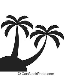 Two palm trees on island. Vector illustration