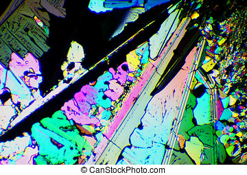 sulfur crystals - colorful sulfur crystals photomicrograph...