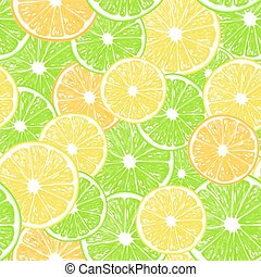 Citrus fruit slices pattern - Seamless pattern with various...