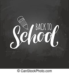Vector vintage Welcome Back to school logo. Retro sign with pencil. Knowledge day design concept.