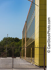 Yellow building glass facade - Office new modern building of...