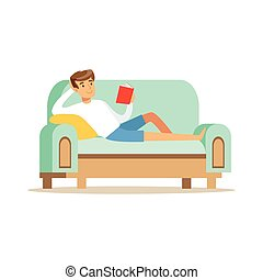 Young man lying on a light blue sofa and reading a newspaper, man resting at home vector Illustration