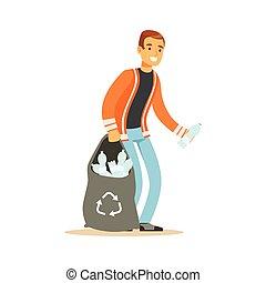 Smiling man gathering garbage and plastic bottles, waste...
