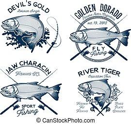 Golden Dorado Fishing Logo. Vector Illustration. - Golden...