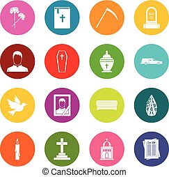 Funeral icons many colors set isolated on white for digital...