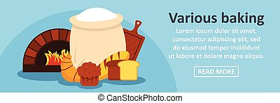 Various baking banner horizontal concept. Flat illustration...