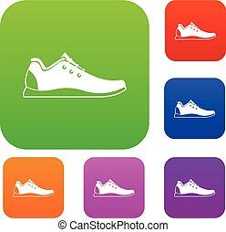 Athletic shoe set collection - Athletic shoe set icon in...