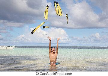 Beach fun w flippers falling from sky