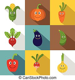 Funny vegetables icons set, flat style - Funny vegetables...