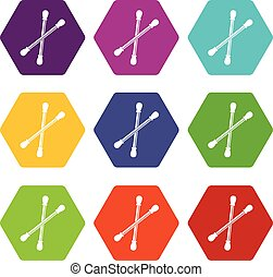 Cotton buds icon set color hexahedron - Cotton buds icon set...