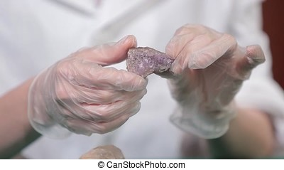 Natural stone amethyst or another mineral, stone. Wild...