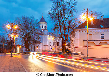 Picturesque Street at night, Vilnius, Lithuania -...