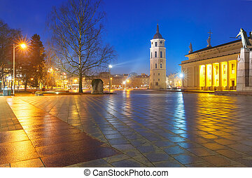 Cathedral Square in the evening, Vilnius. - Cathedral...