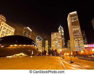 The Millennium Park in downtown Chicago at night