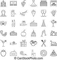 Party cocktail icons set, outline style