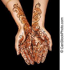 a design on hands against a black background