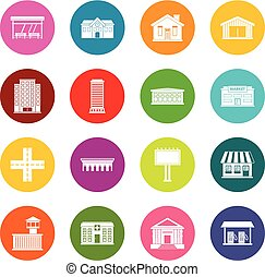 City infrastructure items icons many colors set isolated on...