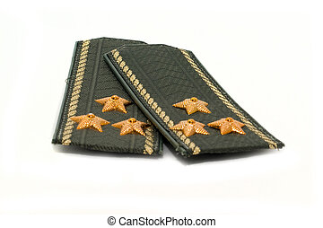 Epaulets Colonel closeup on a white background