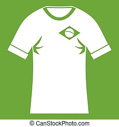 Shirt with flag of Brazil sign icon green