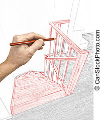 Renovation of a modern duplex with wooden stairs - Drawing...