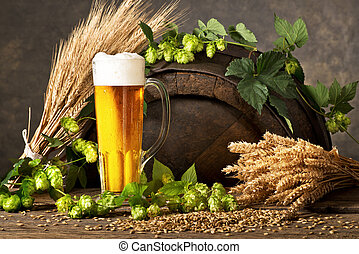 Beer Glass with Hops and Rw Material for Beer Production.