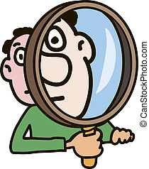 Magnifier - The man carefully watches something through a...