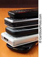 many cell phones are on each other