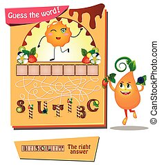 guess the word biscuit - Visual Game for children. Task:...