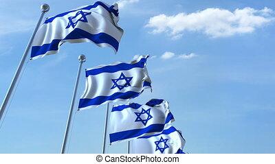 Row of waving flags of Israel agaist blue sky, seamless loop
