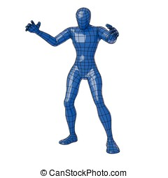 Wireframe human figure in sorcerer pose making magic with...