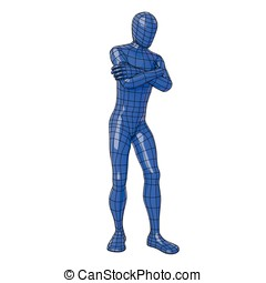 Wireframe human figure expecting for something with crossed...