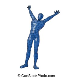 Wireframe human figure stretching on the morning with...