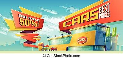 Vector cartoon illustration, banner of sales, a special...