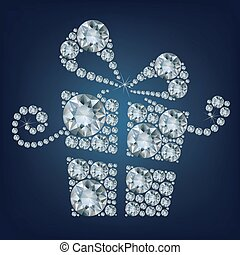 illustration of gift present made up a lot of diamonds on the black background
