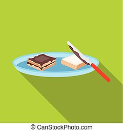 Tasty food, a sandwich with chocolate.Food single icon in flat style vector symbol stock illustration web.