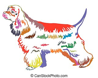 Colorful decorative standing portrait of American Cocker Spaniel vector illustration