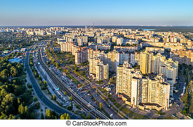 Birds eye view of Troieshchyna district of Kiev, Ukraine -...