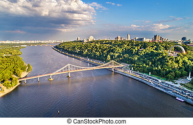 Aerial view of the Dnieper with the Pedestrian Bridge in...