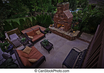 Outdoor Fireplace at Dusk