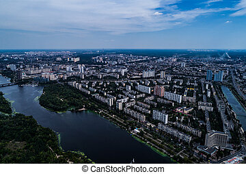 Panoramic view of the city of Kiev with the Dnieper River on...