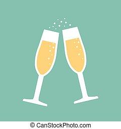 champagne glasses icon - vector illustration