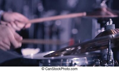 Drummer Hand Silhouette With Drumstick - Drummer Plays Drums...