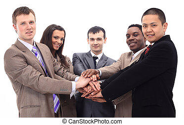 business team with hands clasped together - business...