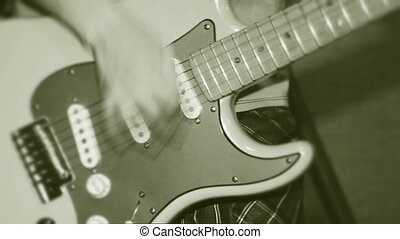 Guitar in the hands of a profession - Guitarist actively...