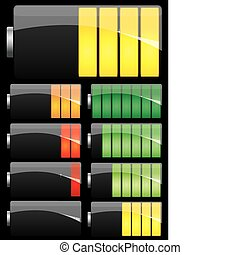 Set of Battery charge showing stages of power running low and full on black background, vector
