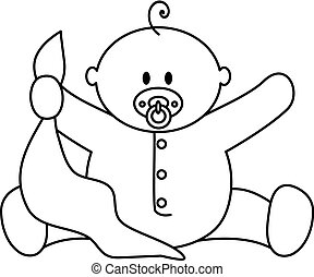 Baby boy with blanket - black and white clip art or...