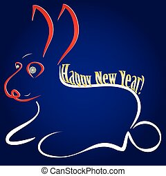 For the Chinese Zodiac card - Rabbit Design with red 2011 on his face and gold Happy New Year wish on blue background, vector illustration