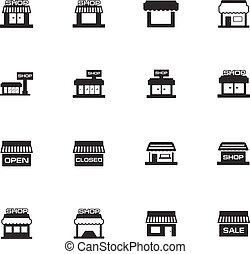 Store icons set and symbols for web user interface