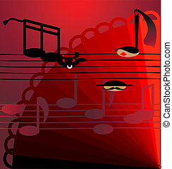 background flamenco - on red-black background stylized music...