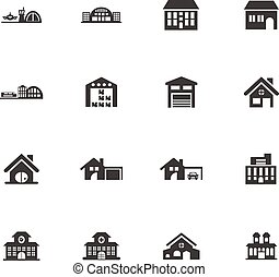 Building icons set - Building vector icons for user...